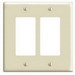 Leviton 80609-I Decora® 2-Gang Midway-Size GFCI Decorator Wallplate; Device Mount, Thermoset Plastic, Ivory