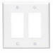 Leviton 80609-W Decora® 2-Gang Midway-Size GFCI Decorator Wallplate; Device Mount, Thermoset Plastic, White
