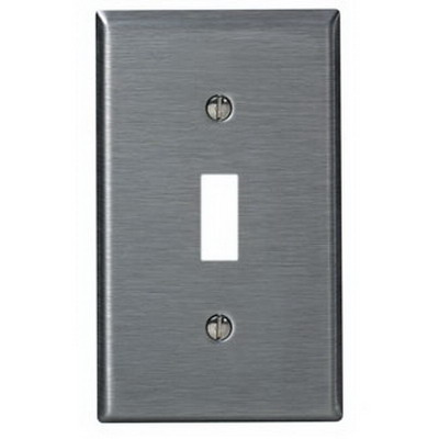 Leviton 84001-40 1-Gang Standard-Size Toggle Switch Wallplate; Device Mount, Stainless Steel, Silver