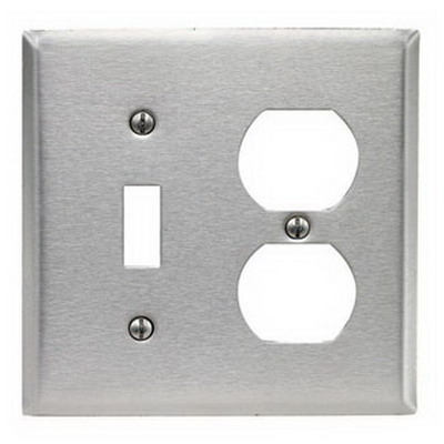 Leviton 84005-40 2-Gang Standard-Size Combination Wallplate; Device Mount, Stainless Steel, Silver