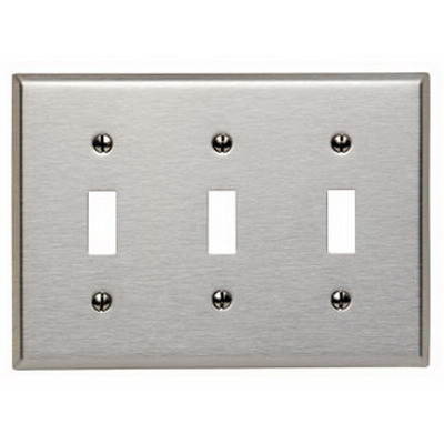 Leviton 84011-40 3-Gang Standard-Size Toggle Switch Wallplate; Device Mount, Stainless Steel, Silver