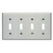 Leviton 84012-40 4-Gang Standard-Size Toggle Switch Wallplate; Device Mount, Stainless Steel, Silver