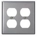 Leviton 84016-40 2-Gang Standard-Size Duplex Receptacle Wallplate; Device Mount, Stainless Steel, Silver