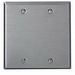 Leviton 84025-40 2-Gang Standard-Size No Device Blank Wallplate; Box Mount, Stainless Steel, Silver