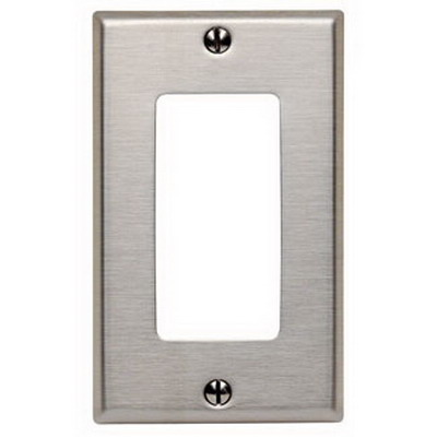 Leviton 84401-40 Decora® 1-Gang Standard-Size GFCI Decorator Wallplate; Device Mount, Stainless Steel, Silver