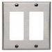Leviton 84409-40 Decora® 2-Gang Standard-Size GFCI Decorator Wallplate; Device Mount, Stainless Steel, Silver