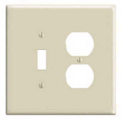 Leviton 86105 2-Gang Oversized Combination Wallplate; Device Mount, Thermoset Plastic, Ivory