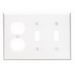 Leviton 88021 3-Gang Standard-Size Combination Wallplate; Device Mount, Thermoset Plastic, White