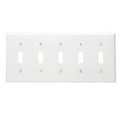 Leviton 88023 5-Gang Standard-Size Toggle Switch Wallplate; Device Mount, Thermoset Plastic, White