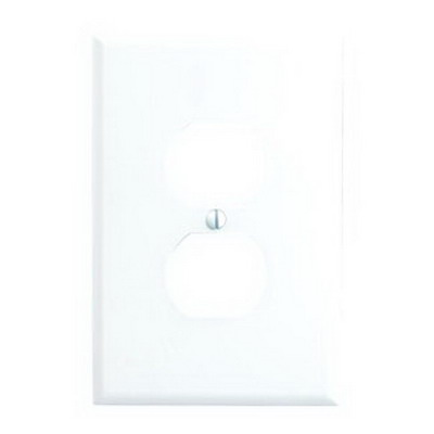 Leviton 88103 1-Gang Oversized Duplex Receptacle Wallplate; Device Mount, Thermoset Plastic, White