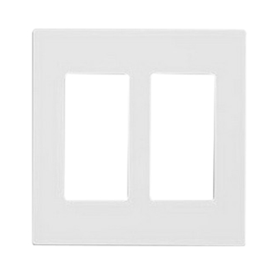 Leviton 80309-SW Decora Plus™ Decora® 2 Gang Standard-Size Screwless GFCI Decorator Wallplate; Snap-On Mount, Polycarbonate, White