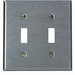 Leviton 84009-40 2-Gang Standard-Size Toggle Switch Wallplate; Device Mount, Stainless Steel, Silver