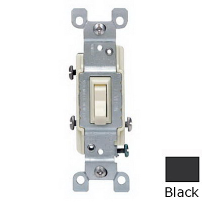 Leviton 1453-2E AC Quiet 3-Way Framed Toggle Switch; 120 Volt AC, 15 Amp, Black