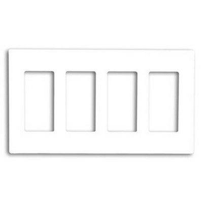 Leviton 80312-SW Decora Plus™ Decora® 4-Gang Standard-Size Screwless Decorator Wallplate; Snap-On Mount, Polycarbonate, White
