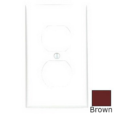 Leviton 80703 1-Gang Standard-Size Duplex Receptacle Wallplate; Device Mount, Thermoplastic Nylon, Brown