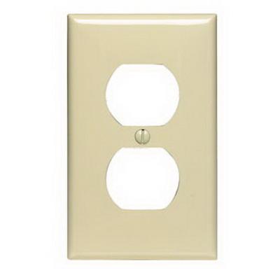 Leviton 80703-I 1-Gang Standard-Size Duplex Receptacle Wallplate; Device Mount, Thermoplastic Nylon, Ivory