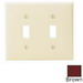 Leviton 80709 2-Gang Standard-Size Toggle Switch Wallplate; Device Mount, Thermoplastic Nylon, Brown