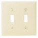Leviton 80709-I 2-Gang Standard-Size Toggle Switch Wallplate; Device Mount, Thermoplastic Nylon, Ivory