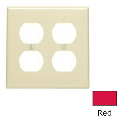 Leviton 80716-R 2-Gang Standard-Size Duplex Receptacle Wallplate; Device Mount, Thermoplastic Nylon, Red