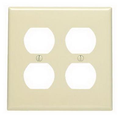Leviton 80716-I 2-Gang Standard-Size Duplex Receptacle Wallplate; Device Mount, Thermoplastic Nylon, Ivory