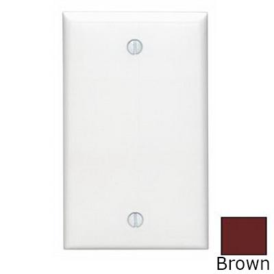 Leviton 80714 1-Gang Standard-Size No Device Blank Wallplate; Box Mount, Thermoplastic Nylon, Brown