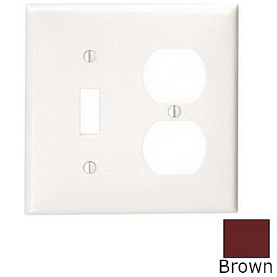Leviton 80705 2-Gang Standard-Size Combination Wallplate; Device Mount, Thermoplastic Nylon, Brown