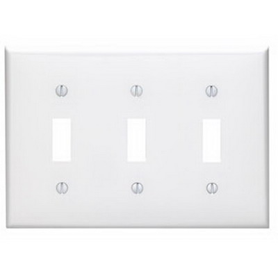 Leviton 80711-W 3-Gang Standard-Size Toggle Switch Wallplate; Device Mount, Thermoplastic Nylon, White