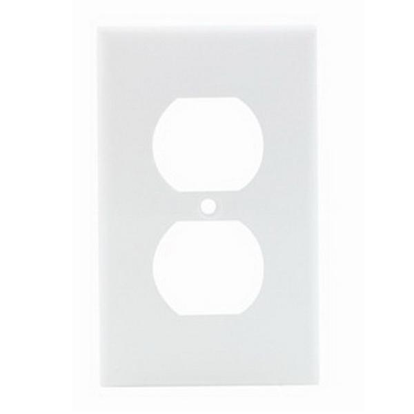 Leviton 80703-W 1-Gang Standard-Size Duplex Receptacle Wallplate; Device Mount, Thermoplastic Nylon, White