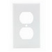 Leviton 80703-W 1-Gang Standard-Size Duplex Receptacle Wallplate; Device Mount, Thermoplastic Nylon, White