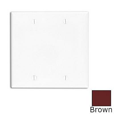 Leviton 80725 2-Gang Standard-Size No Device Blank Wallplate; Box Mount, Thermoplastic Nylon, Brown