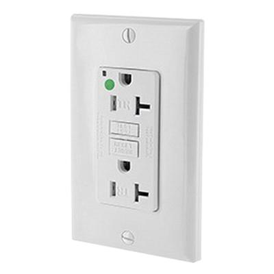 Leviton X7899-HGW SmartlockPro® Double Pole GFCI Receptacle; Wall Mount, 125 Volt, 20 Amp, White
