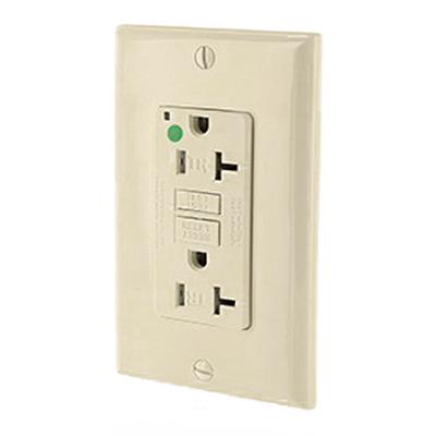 Leviton X7899-HGI SmartlockPro® Double Pole GFCI Receptacle; Wall Mount, 125 Volt, 20 Amp, Ivory