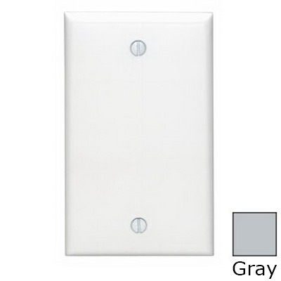Leviton 80714-GY 1-Gang Standard-Size No Device Blank Wallplate; Box Mount, Thermoplastic Nylon, Gray