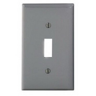 Leviton 80701-GY 1-Gang Standard-Size Toggle Switch Wallplate; Device Mount, Thermoplastic Nylon, Gray
