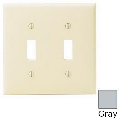 Leviton 80709-GY 2-Gang Standard-Size Toggle Switch Wallplate; Device Mount, Thermoplastic Nylon, Gray