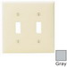 Leviton 80709-GY 2-Gang Standard-Size Toggle Switch Wallplate; Device Mount, Thermoplastic Nylon, Gray