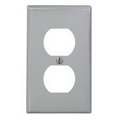 Leviton 80703-GY 1-Gang Standard-Size Duplex Receptacle Wallplate; Device Mount, Thermoplastic Nylon, Gray