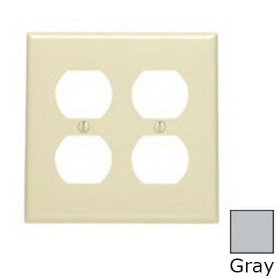 Leviton 80716-GY 2-Gang Standard-Size Duplex Receptacle Wallplate; Device Mount, Thermoplastic Nylon, Gray