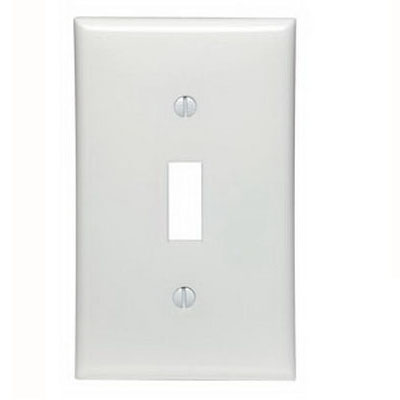 Leviton 80701-W 1-Gang Standard-Size Toggle Switch Wallplate; Device Mount, Thermoplastic Nylon, White