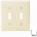 Leviton 80709-W 2-Gang Standard-Size Toggle Switch Wallplate; Device Mount, Thermoplastic Nylon, White