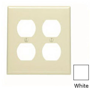 Leviton 80716-W 2-Gang Standard-Size Duplex Receptacle Wallplate; Device Mount, Thermoplastic Nylon, White