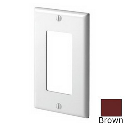 Leviton 80401-N Decora® 1-Gang Standard-Size GFCI Decorator Wallplate; Device Mount, Thermoplastic Nylon, Brown