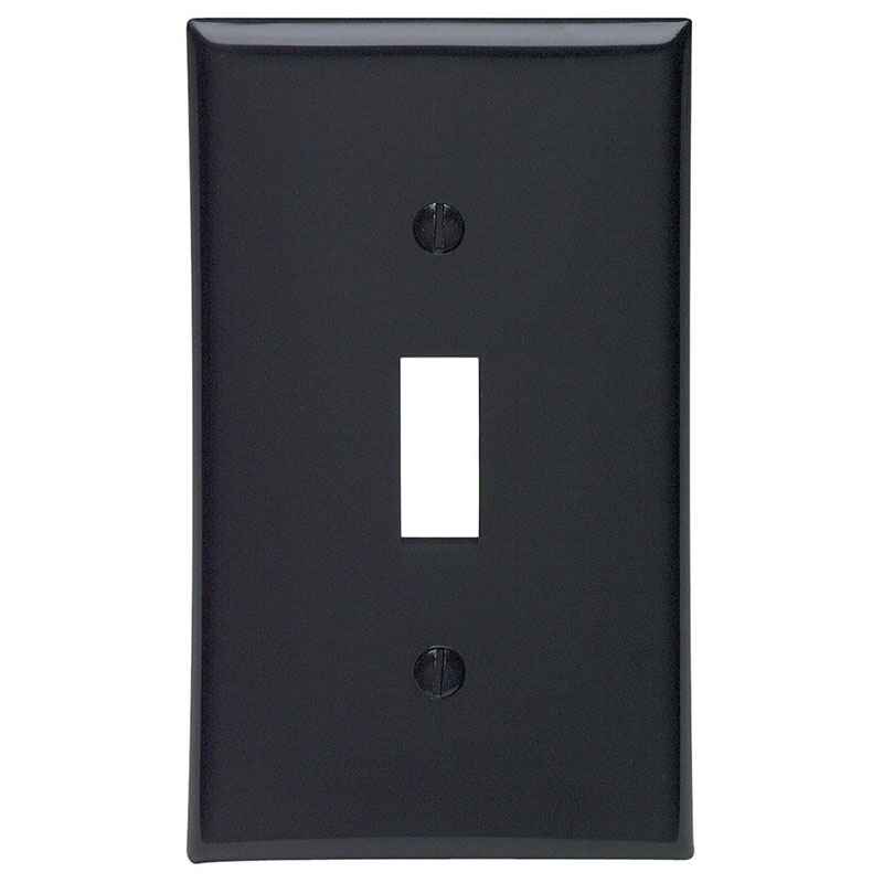 Leviton 80701-E 1-Gang Standard-Size Toggle Switch Wallplate; Device Mount, Thermoplastic Nylon, Black