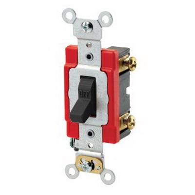Leviton 1221-2E Extra Heavy Duty Specification Grade AC Quiet Toggle Switch SPST  120/277 Volt AC  20 Amp  Black