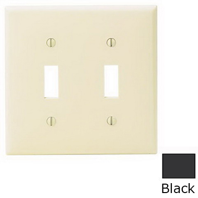 Leviton 80709-E 2-Gang Standard-Size Toggle Switch Wallplate; Device Mount, Thermoplastic Nylon, Black