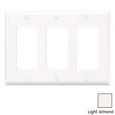 Leviton 80411-T Decora® 3-Gang Standard-Size GFCI Decorator Wallplate; Device Mount, Thermoset Plastic, Light Almond