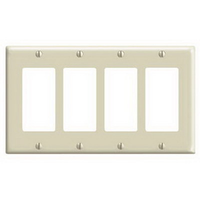Leviton 80412-T Decora® 4-Gang Standard-Size GFCI Decorator Wallplate; Device Mount, Thermoset Plastic, Light Almond