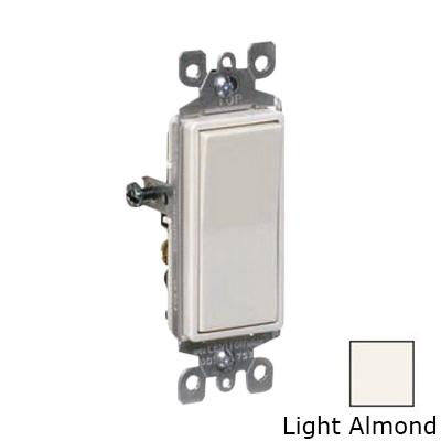 Leviton 5601-2T Decora® AC Quiet Rocker Switch; 1-Pole, 120/277 Volt AC, 15 Amp, Light Almond