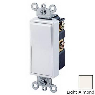 Leviton 5604-2T Decora® AC Quiet 4-Way Switch; 2-Pole, 120/277 Volt AC, 15 Amp, Light Almond