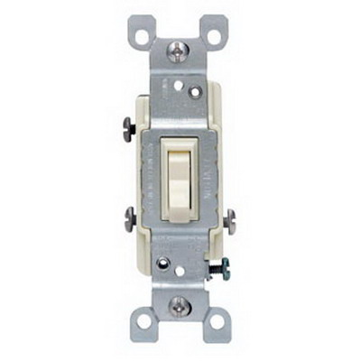 Leviton 1453-2T AC Quiet 3-Way Framed Toggle Switch; 120 Volt AC, 15 Amp, Light Almond